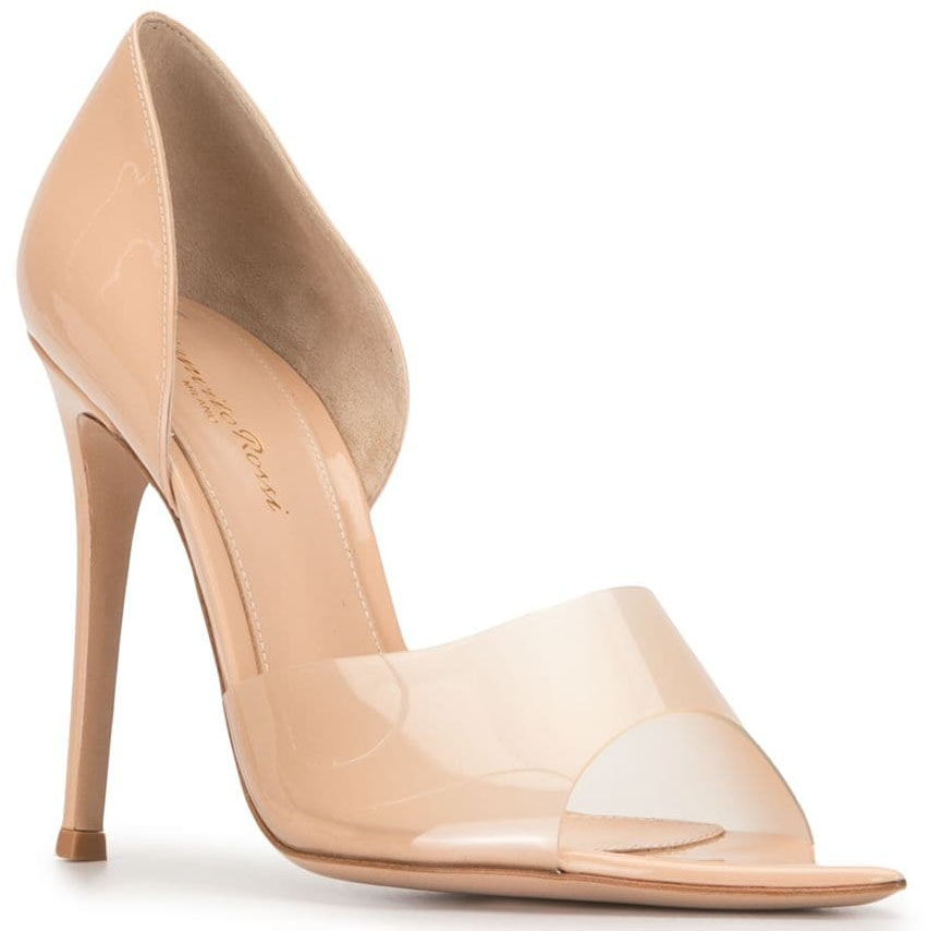The Gianvito Rossi Bree is a d'Orsay-style pump with nude PVC straps and sleek stiletto heels
