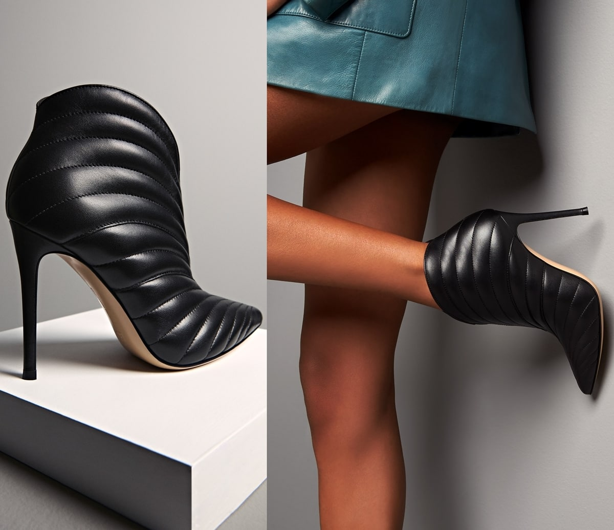 Gianvito Rossi's black leather Eiko heeled boots feature a sculpted design and sinuous quilting
