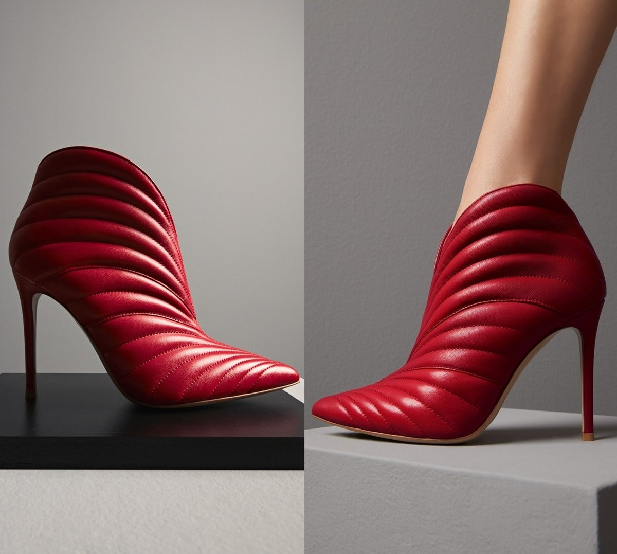 These red Eiko boots feature a glossy finish, pointed toe, and slender stiletto heel