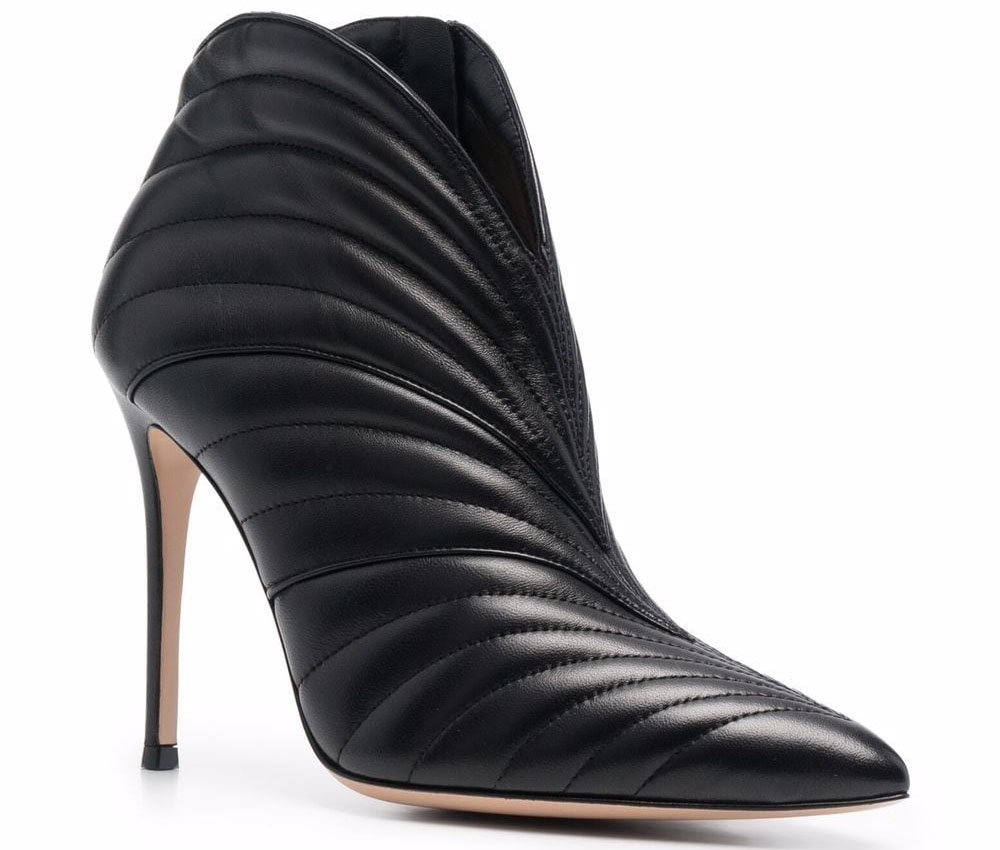 The Gianvito Rossi Eiko booties look edgy with notched top trim and quilted leather design
