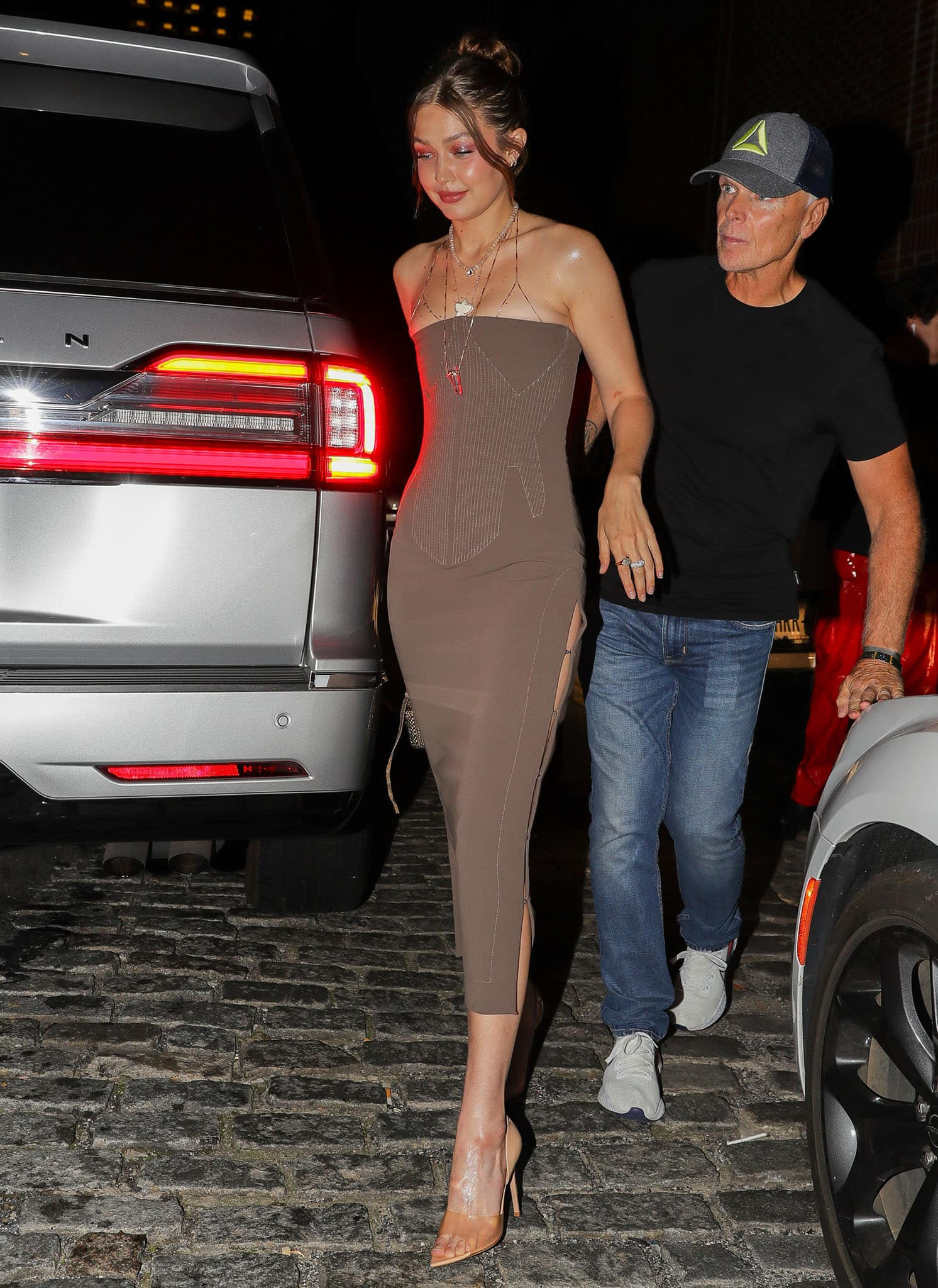 Gigi Hadid arrives at the launch of sister Bella Hadid's beverage brand Kin Euphorics in New York City on September 8, 2021