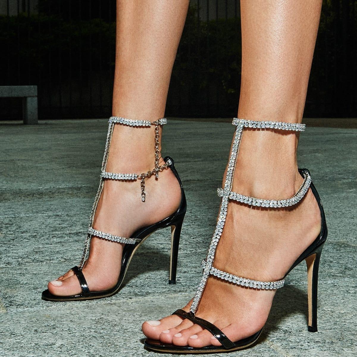 Dixie D'Amelio added height with Giuseppe Zanotti's Shaula open-toe sandals