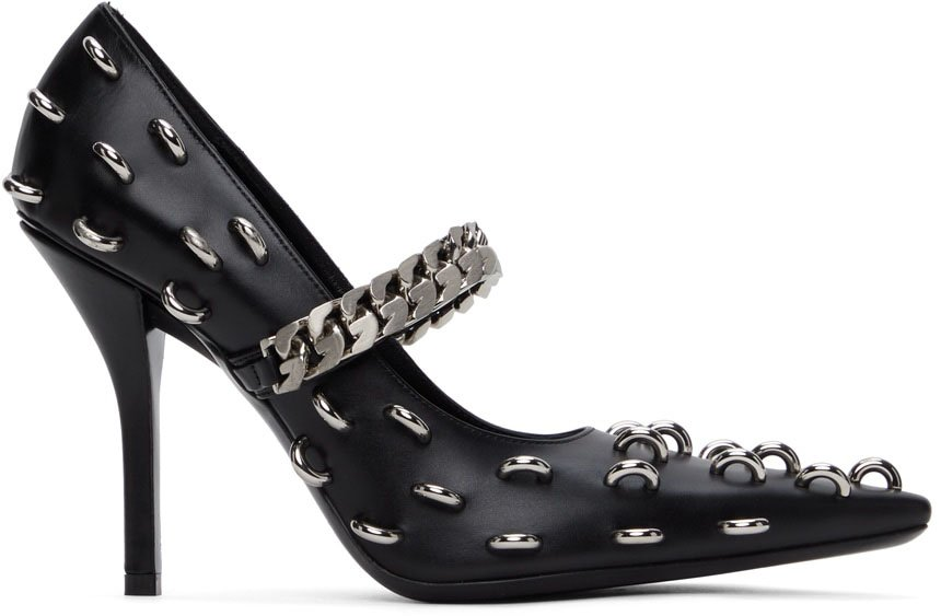 These edgy Givenchy pumps have chain straps and silver hoop ring embellishments all over