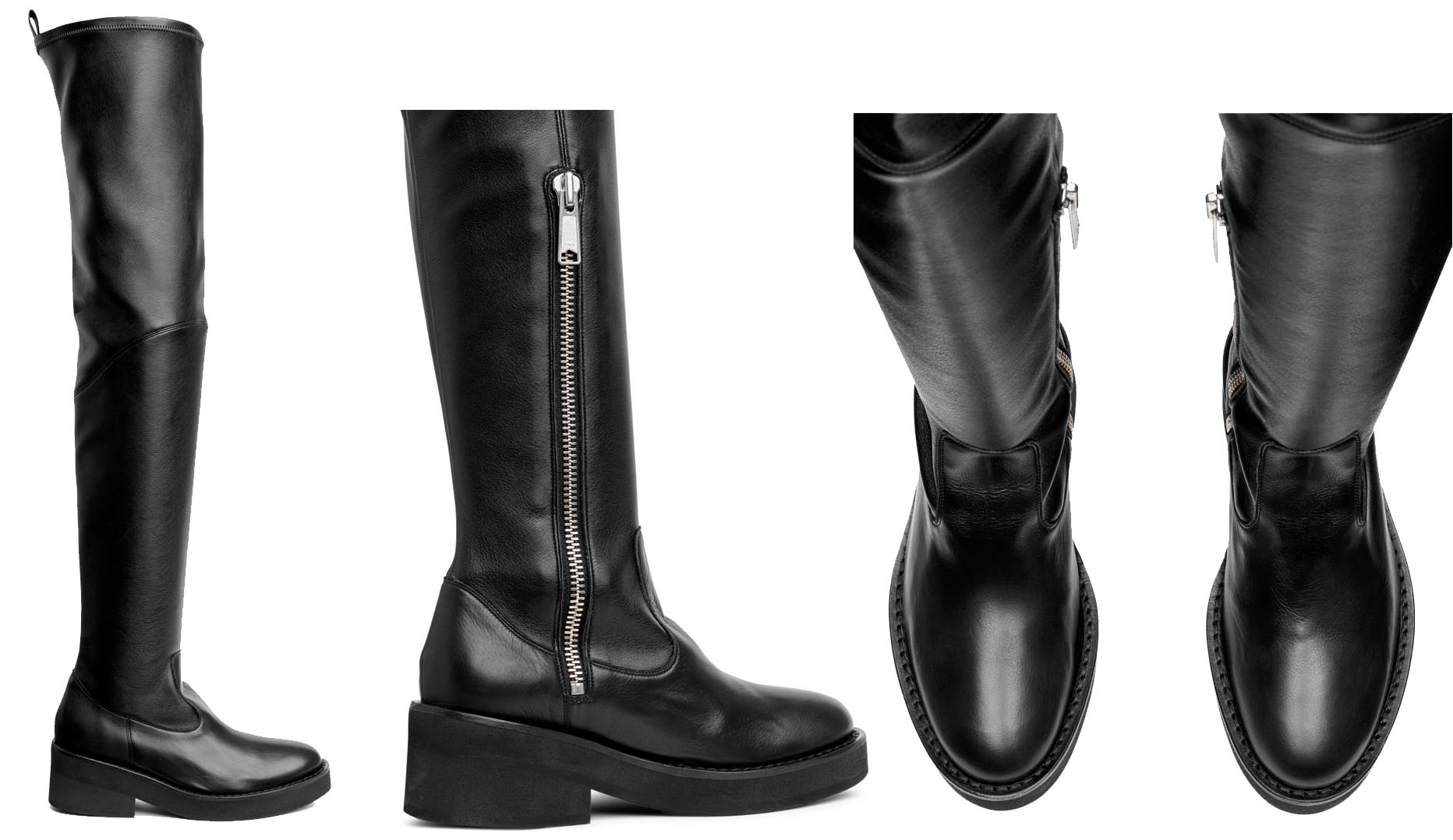 A more affordable pair of OTK boots featuring elastication at the top and chunky visible zip on one side