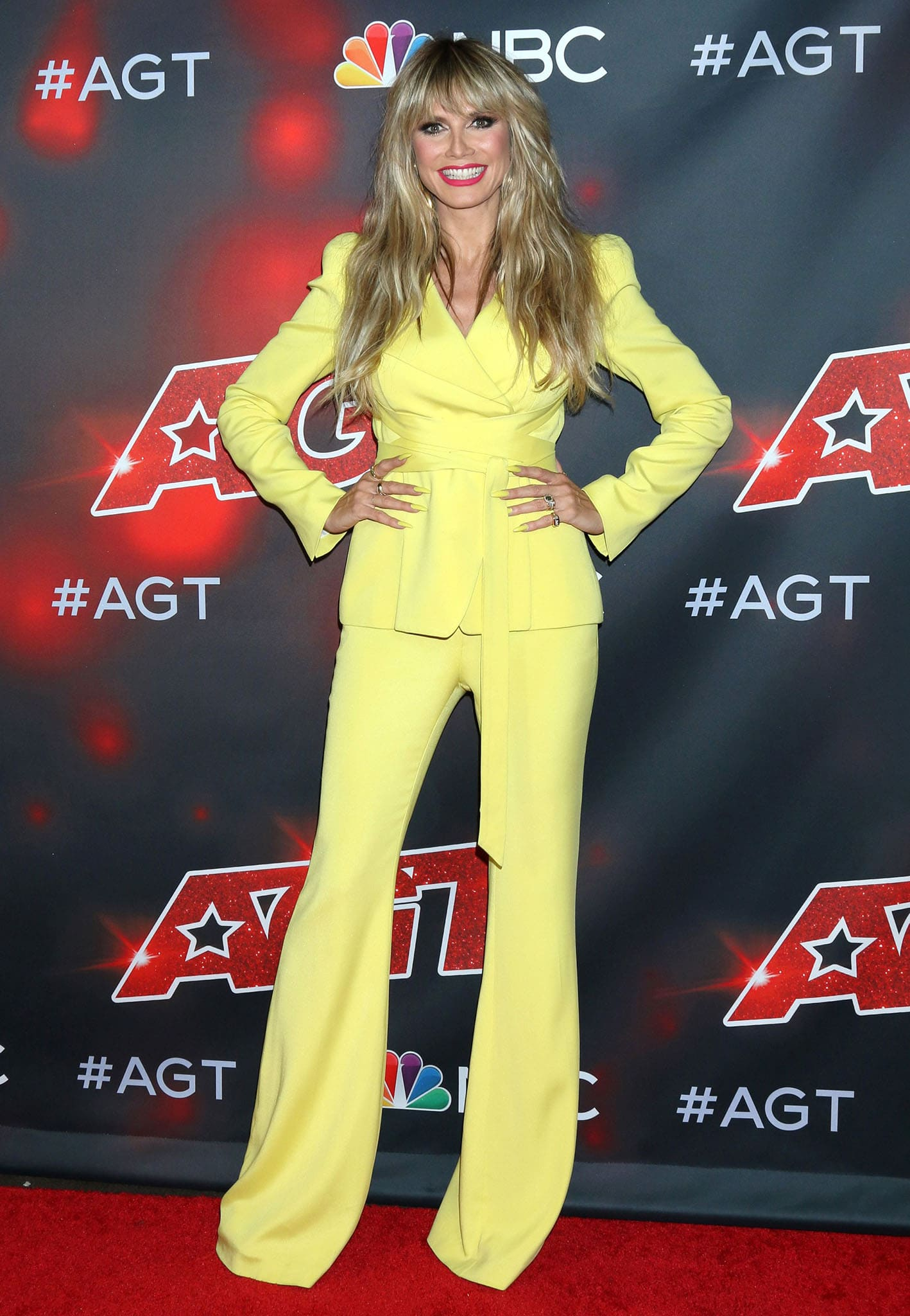 Heidi Klum in yellow Elie Saab co-ords at America's Got Talent live show on September 7, 2021
