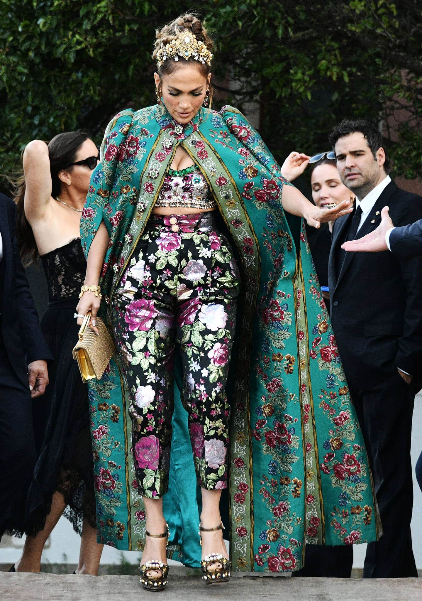 Jennifer Lopez leaving Hotel San Clemente en route to Piazza San Marco for Dolce & Gabbana's Venice Alta Moda fashion show in Italy on August 29, 2021