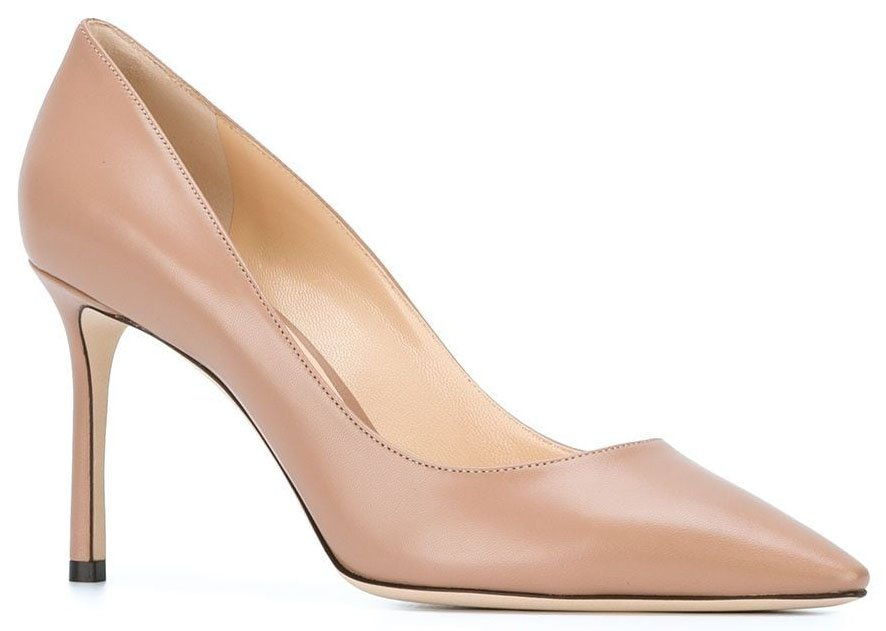 The Romy pumps from Jimmy Choo have a classic design with pointed toes and stiletto heels