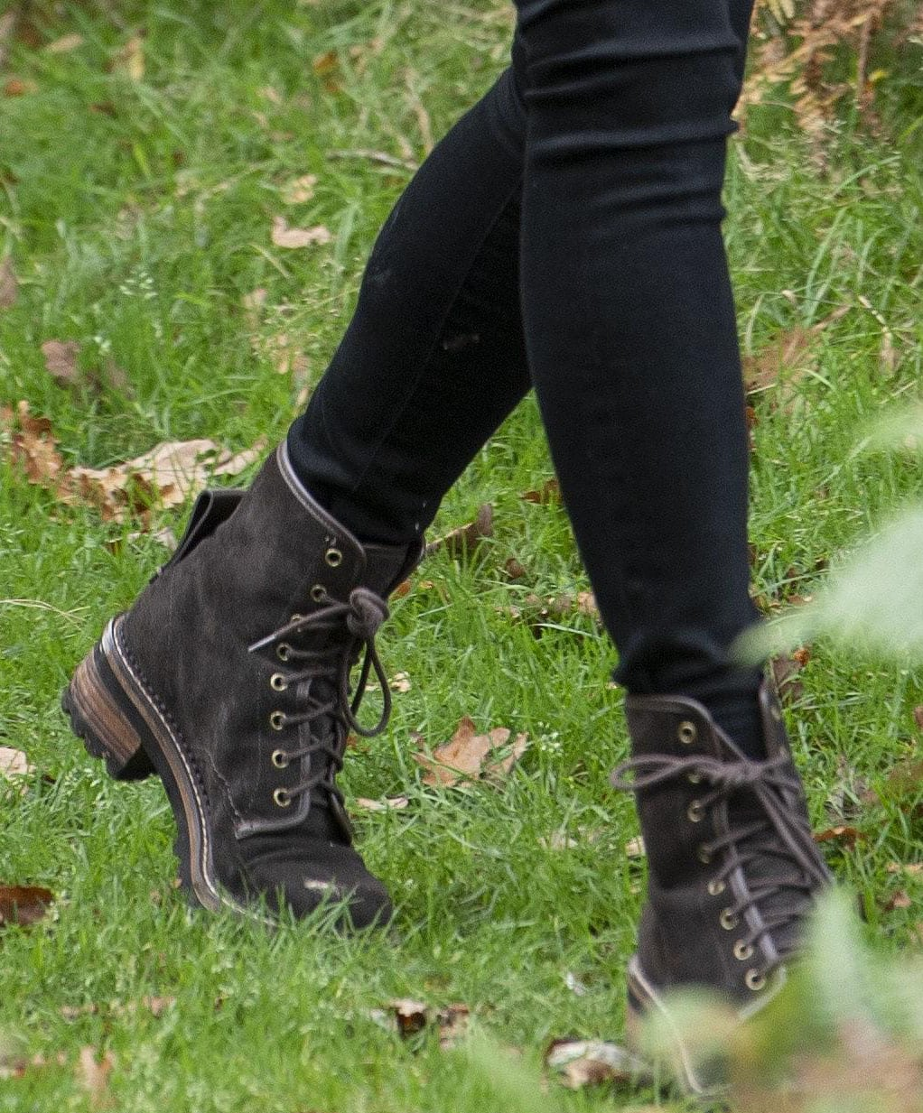Kate Middleton completes her outdoor look with brown suede boots from See by Chloe