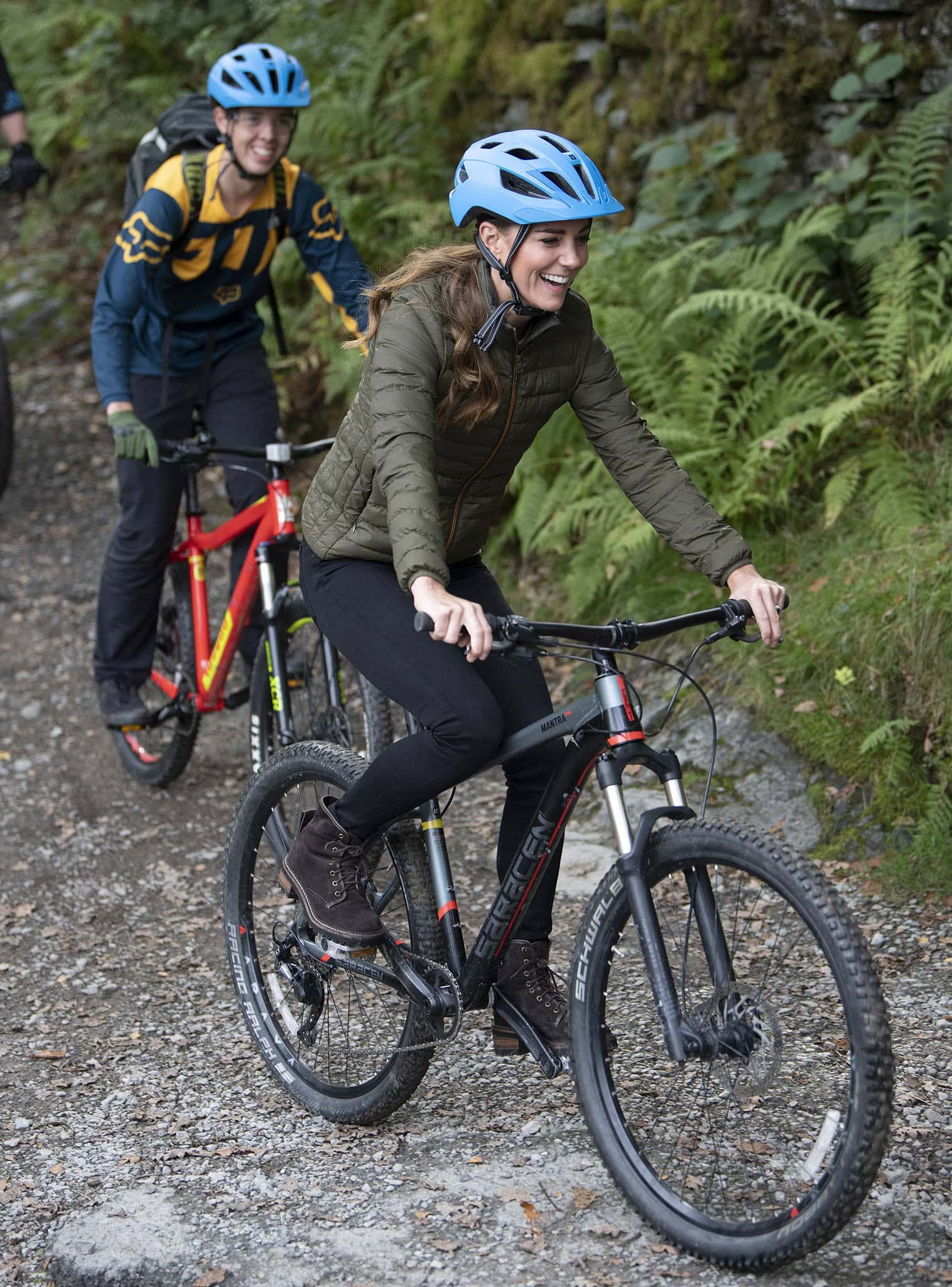 Duchess of Cambridge, Kate Middleton goes mountain biking at the Windermere Adventure Training Centre with RAF Cadets on September 21, 2021