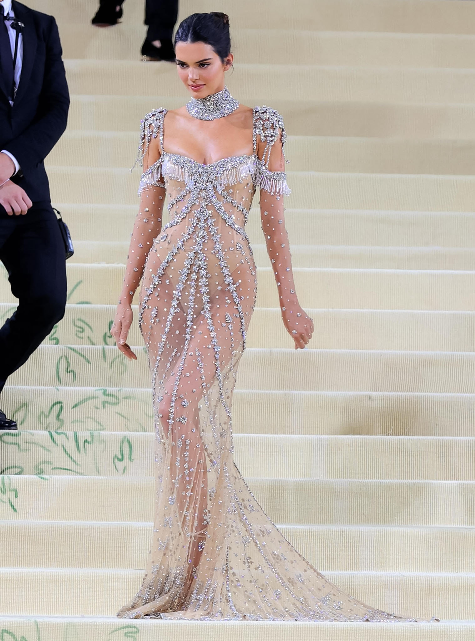 Kendall Jenner commands attention in a sheer gown at the 2021 Met Gala on September 13, 2021