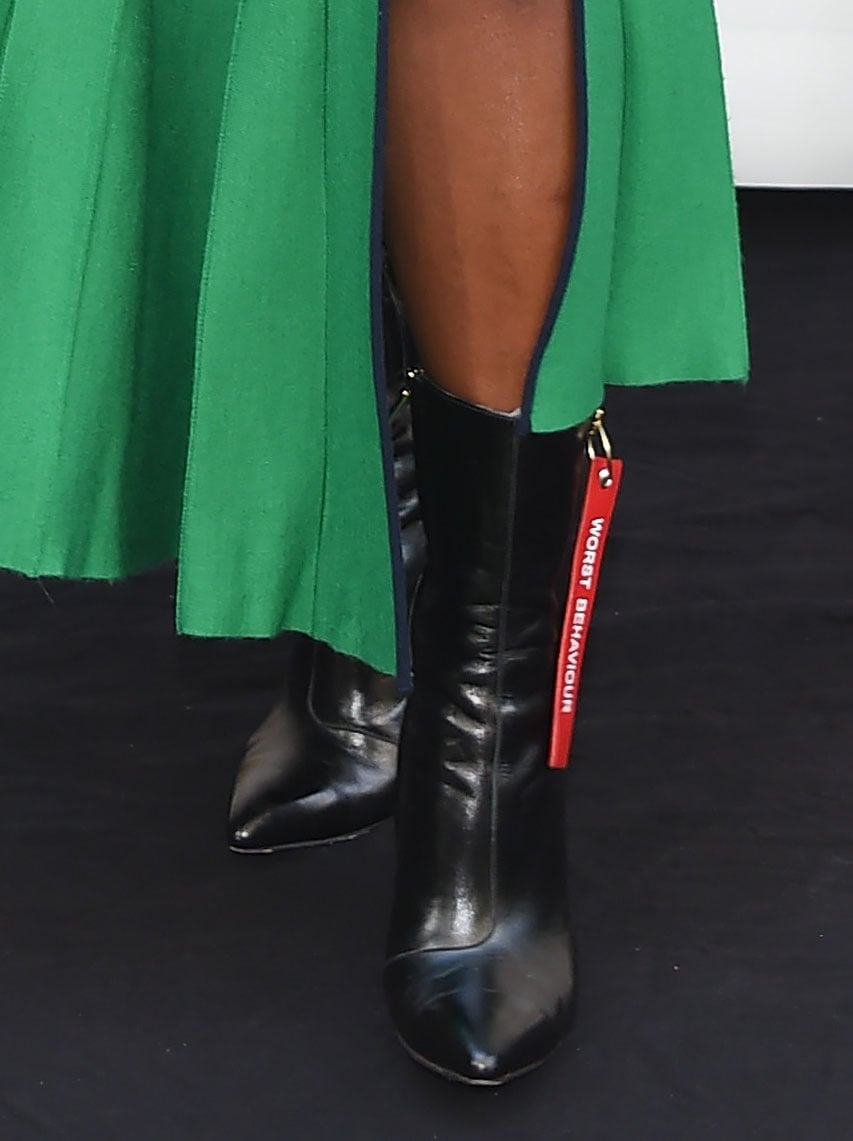 Kirby Howell-Baptiste pairs her green frock with Havva Worst Behavior boots