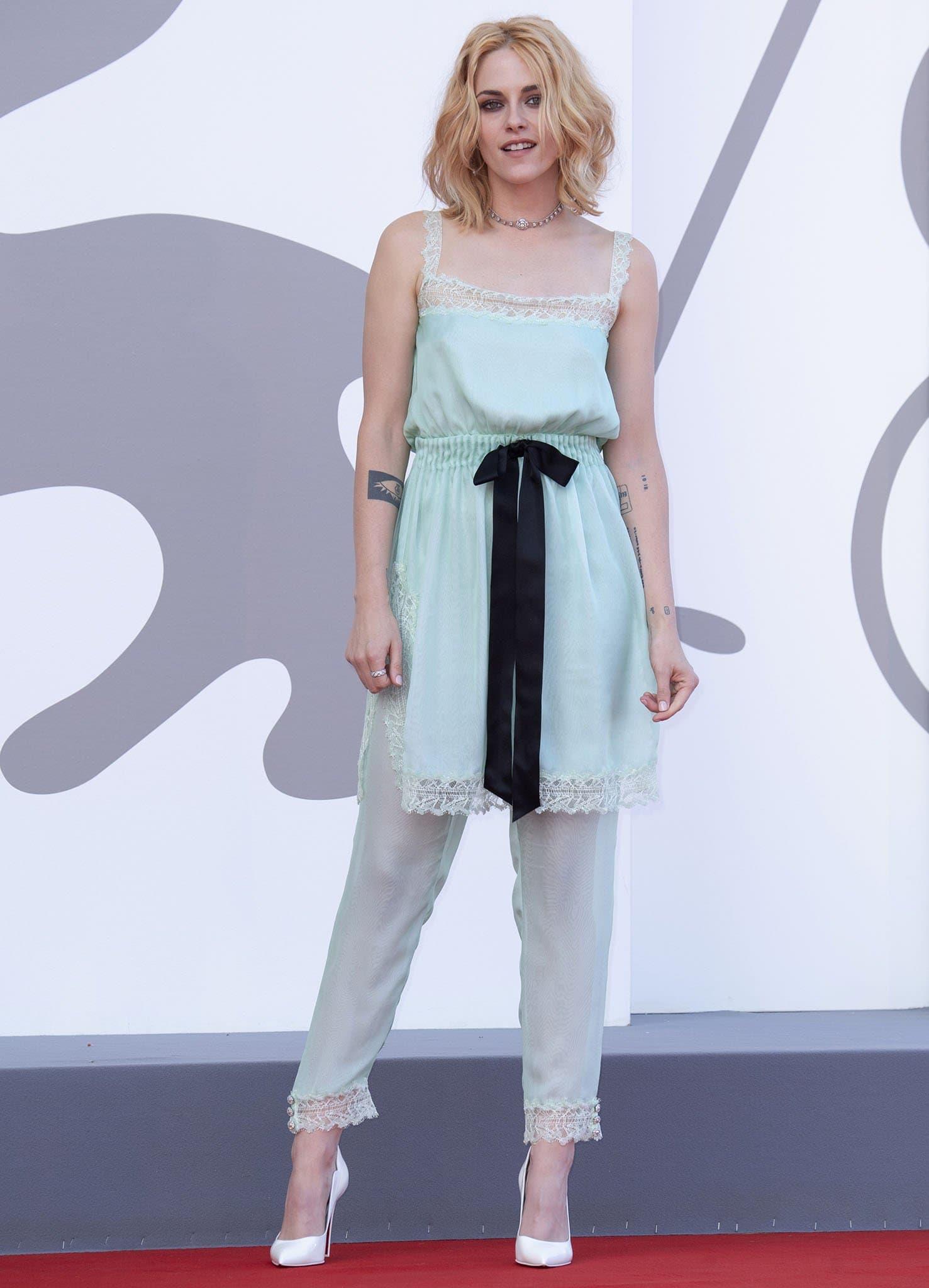 Kristen Stewart attends the Spencer movie premiere during the 2021 Venice Film Festival in Italy on September 3, 2021