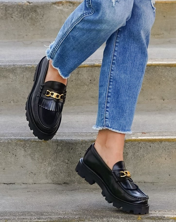 Lucy Hale completes her comfortable casual outfit with Celine Margaret loafers