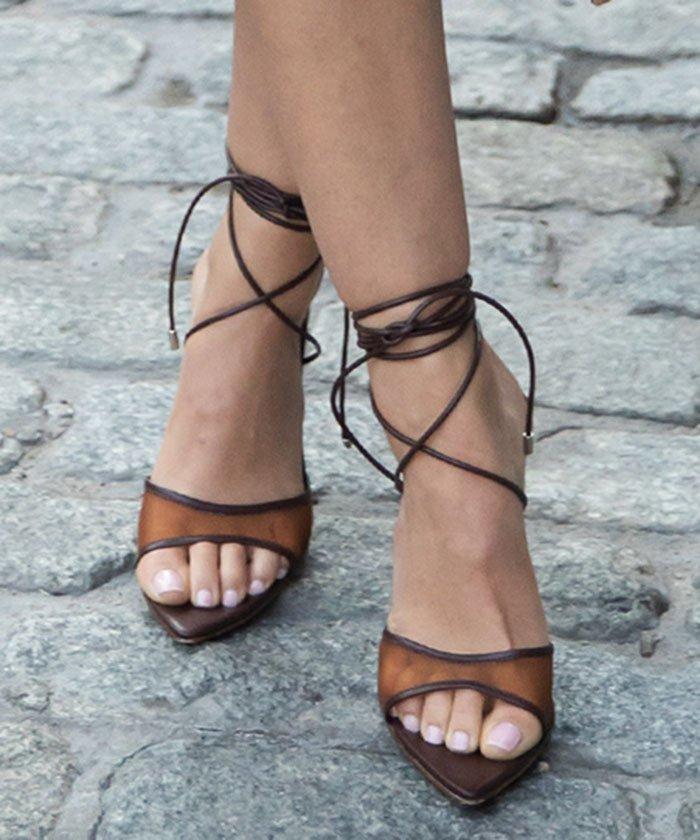 Lucy Hale displays her feet in Clarité Paris Celia brown mesh heels