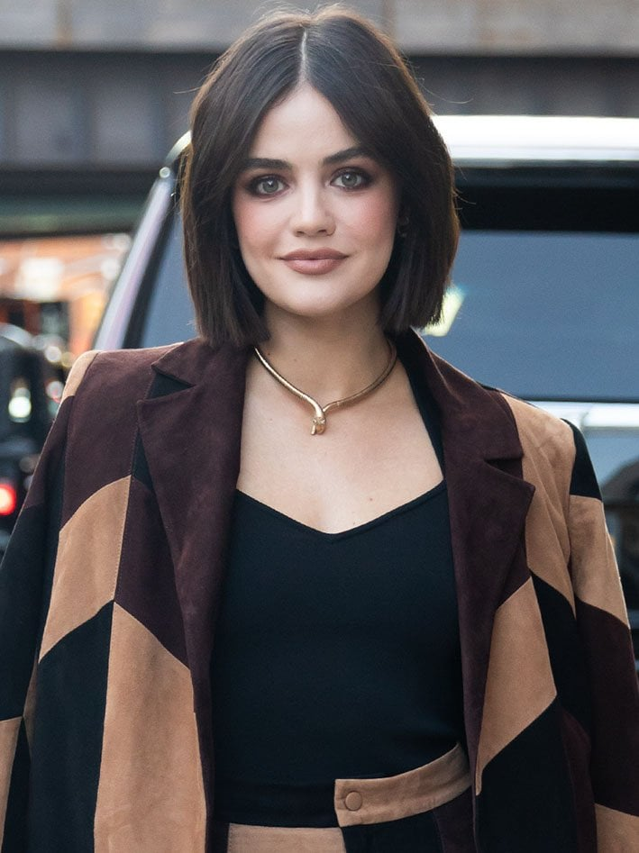 Lucy Hale wears gothic smokey eye-makeup with matte nude lipstick