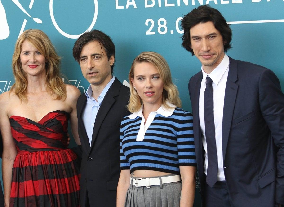 Laura Dern, director Noah Baumbach, Scarlett Johansson, and Adam Driver promote Marriage Story