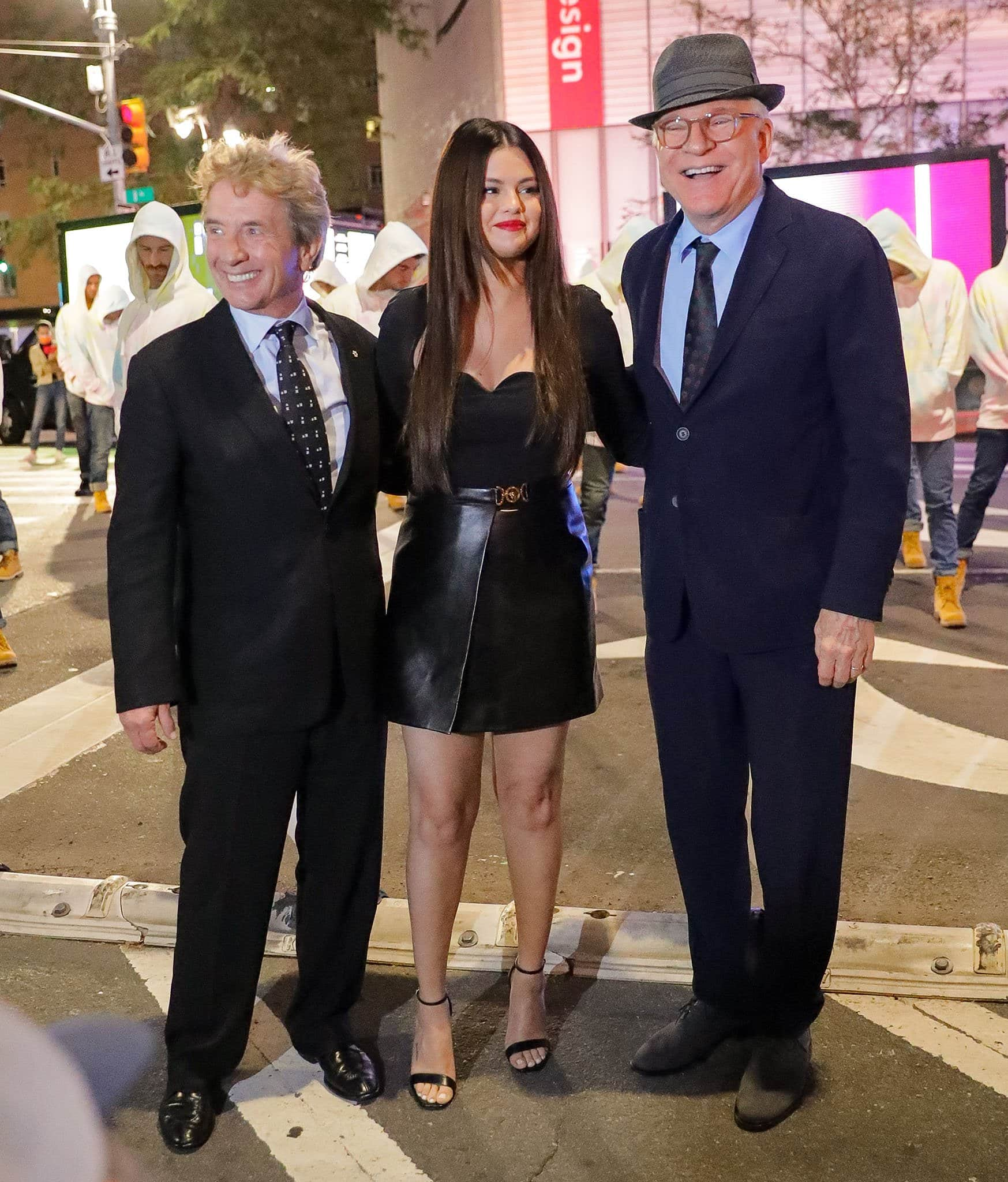 Martin Short, Selena Gomez, and Steve Martin at the Ed Sullivan Theater for an appearance on The Late Show with Stephen Colbert on September 7, 2021