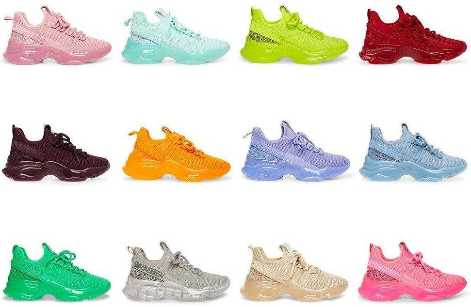 Embellished Steve Madden sneakers in pink, blue, green, red, silver, blush, yellow, orange, and purple