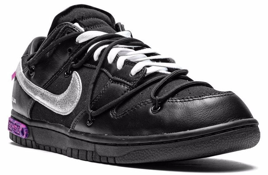Virgil Abloh and Nike have teamed up for a new iteration of the Dunk Low in a full-black leather construction with a metallic silver Swoosh and purple accents