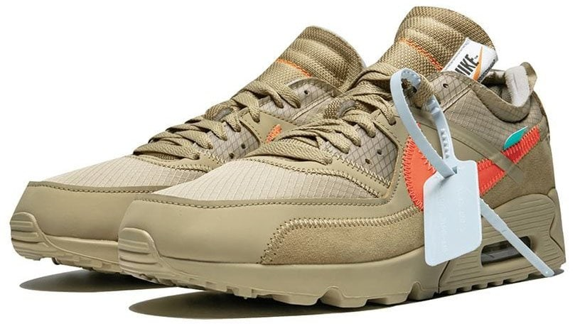 The Off-White x Nike Air Max 90 Desert Ore is the third colorway of the classic Air Max running shoe re-designed by Virgil Abloh