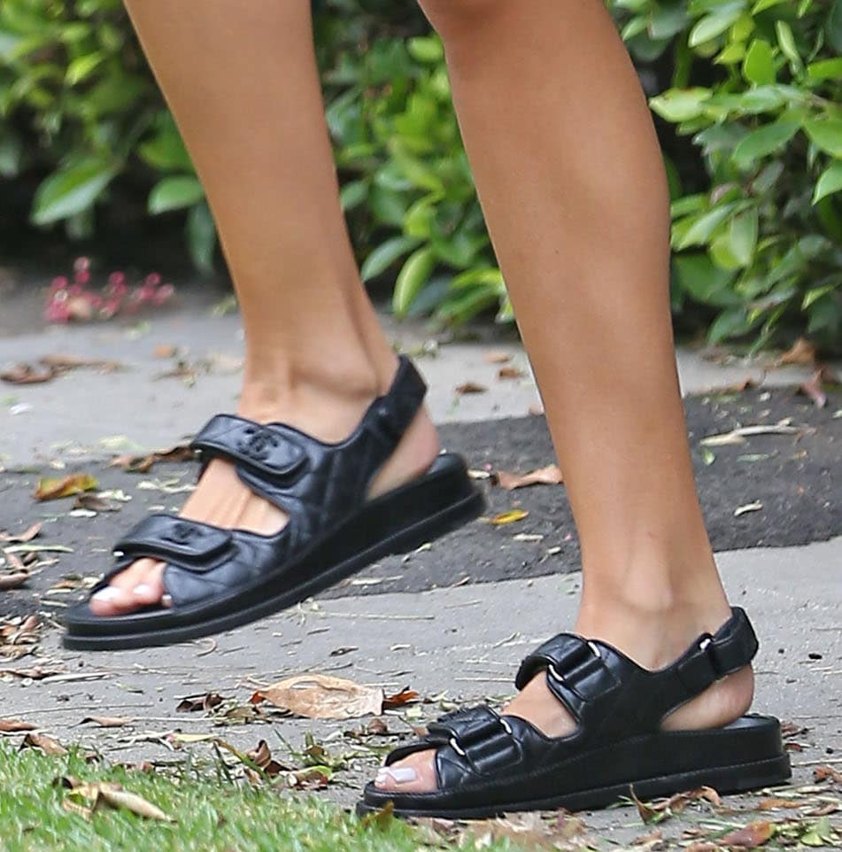 Olivia Culpo stays comfy and shows off her feet in Chanel chunky sandals
