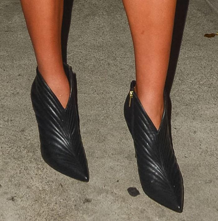 Olivia Culpo flaunts her legs in Gianvito Rossi Eiko booties