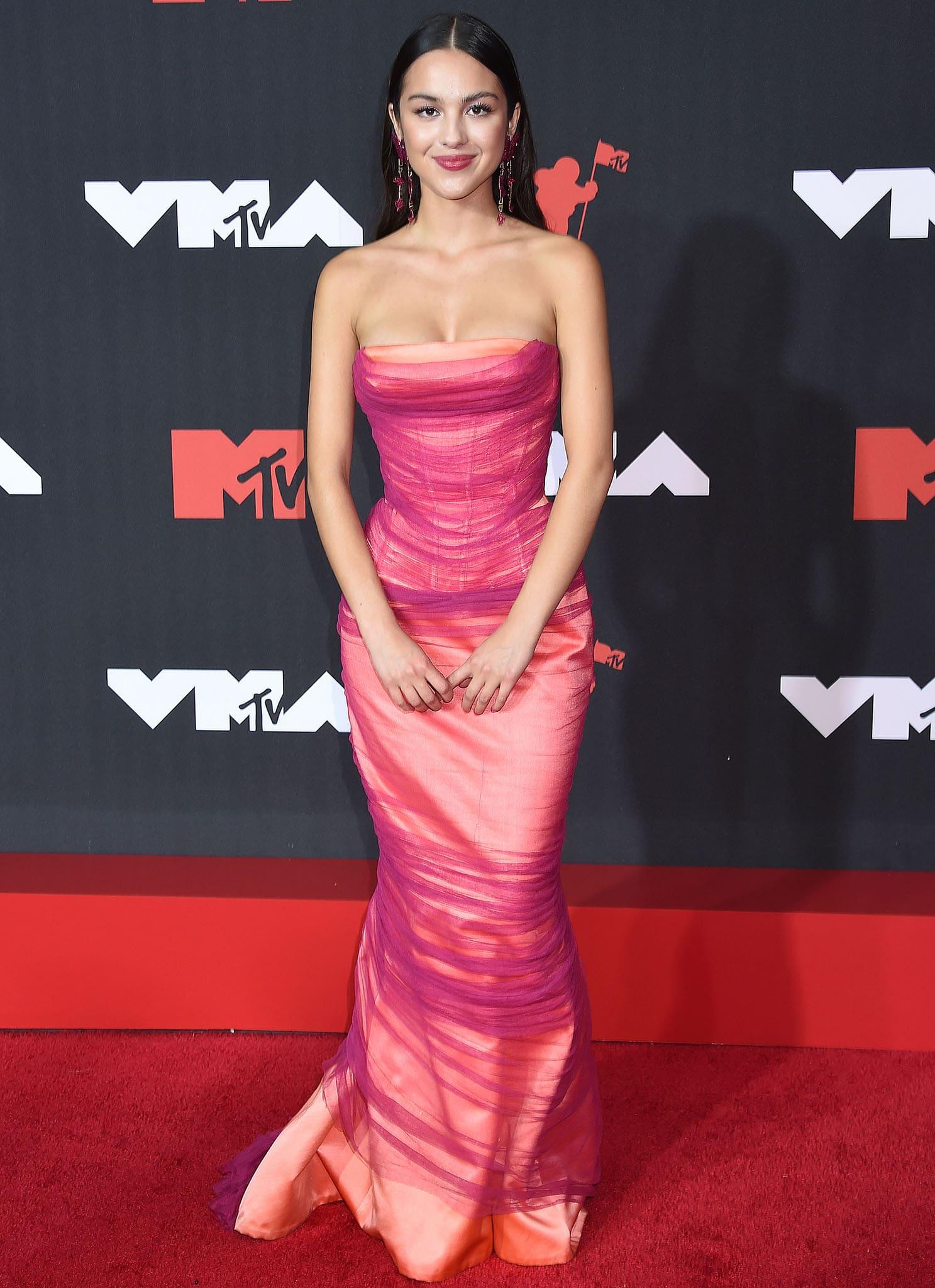 Olivia Rodrigo makes her debut on the 2021 MTV VMAs red carpet on September 12, 2021