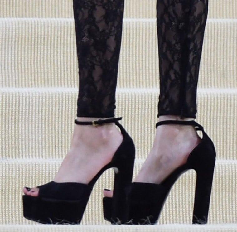 Olivia Rodrigo pairs her sexy punk-rock outfit with Saint Laurent Jodie platform sandals