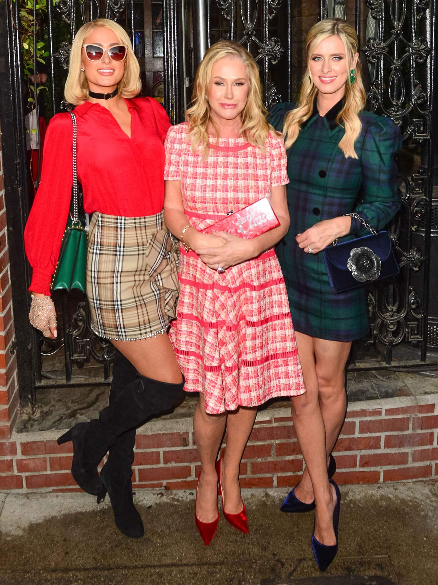 """Paris Hilton, mom Kathy, and sister Nicky Hilton in plaid outfits co-host the 16th annual """"Christmas in September"""" Toy Drive for Children's Hospital LA"""