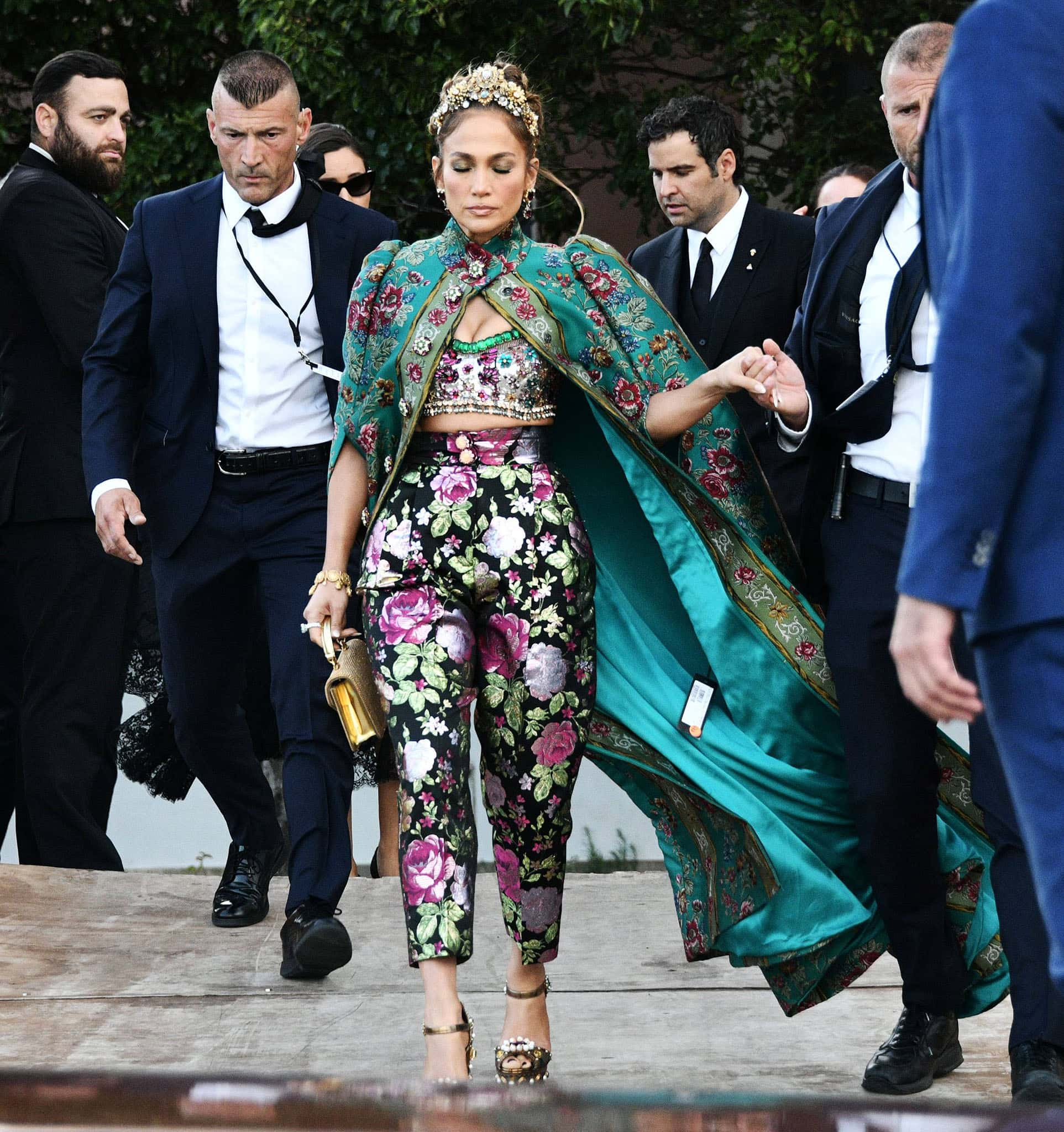 Jennifer Lopez looks regal in her Dolce & Gabbana embellished bralette and trousers