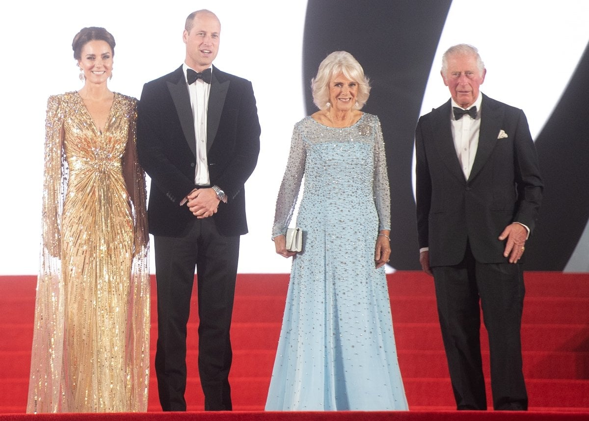 """Catherine, Duchess of Cambridge, Prince William, Duke of Cambridge, Camilla, Duchess of Cornwall, and Prince Charles, Prince of Wales at the World Premiere of """"No Time To Die"""""""