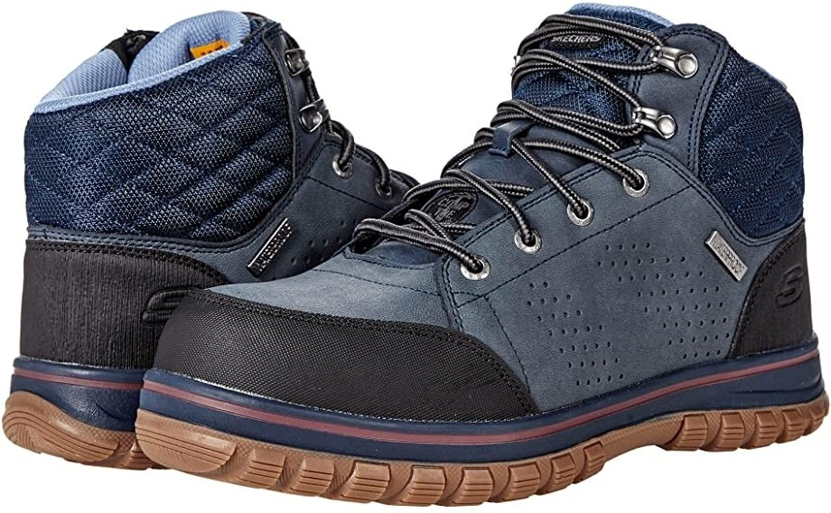 The popular Skechers work boot features a waterproof and stain-resistant leather upper