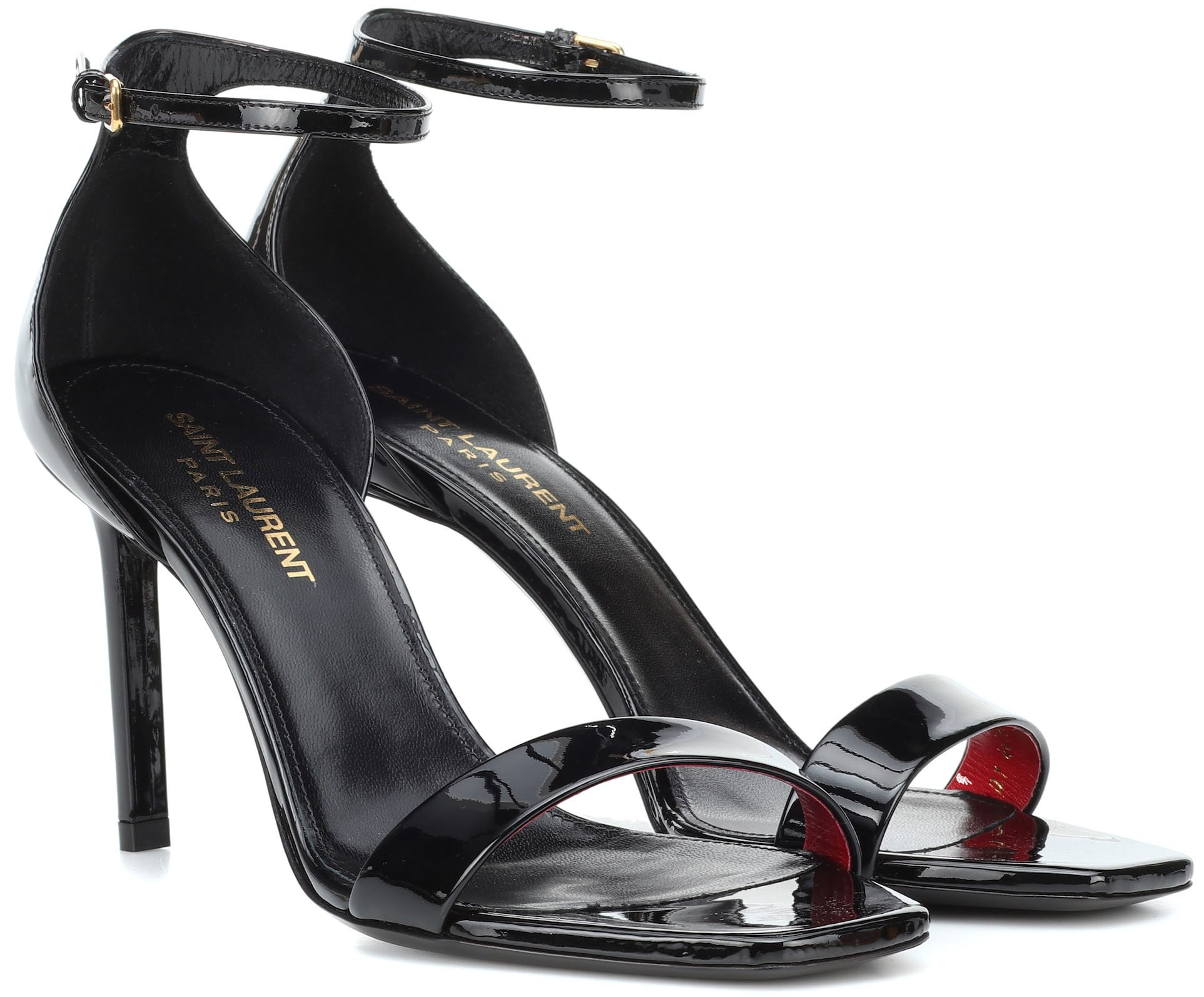 Saint Laurent's Amber heels have chic open square toes, slim ankle straps, and covered heels