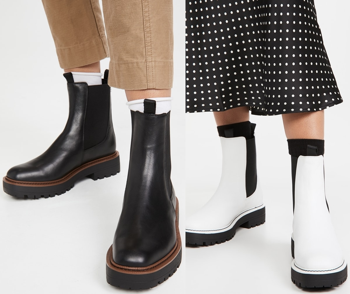Equal parts stylish and sturdy, these black and white Sam Edelman Laguna boots are ready to stand up to rainy days with waterproof leather and a substantial lug sole bringing a utilitarian update to a classic Chelsea boot silhouette