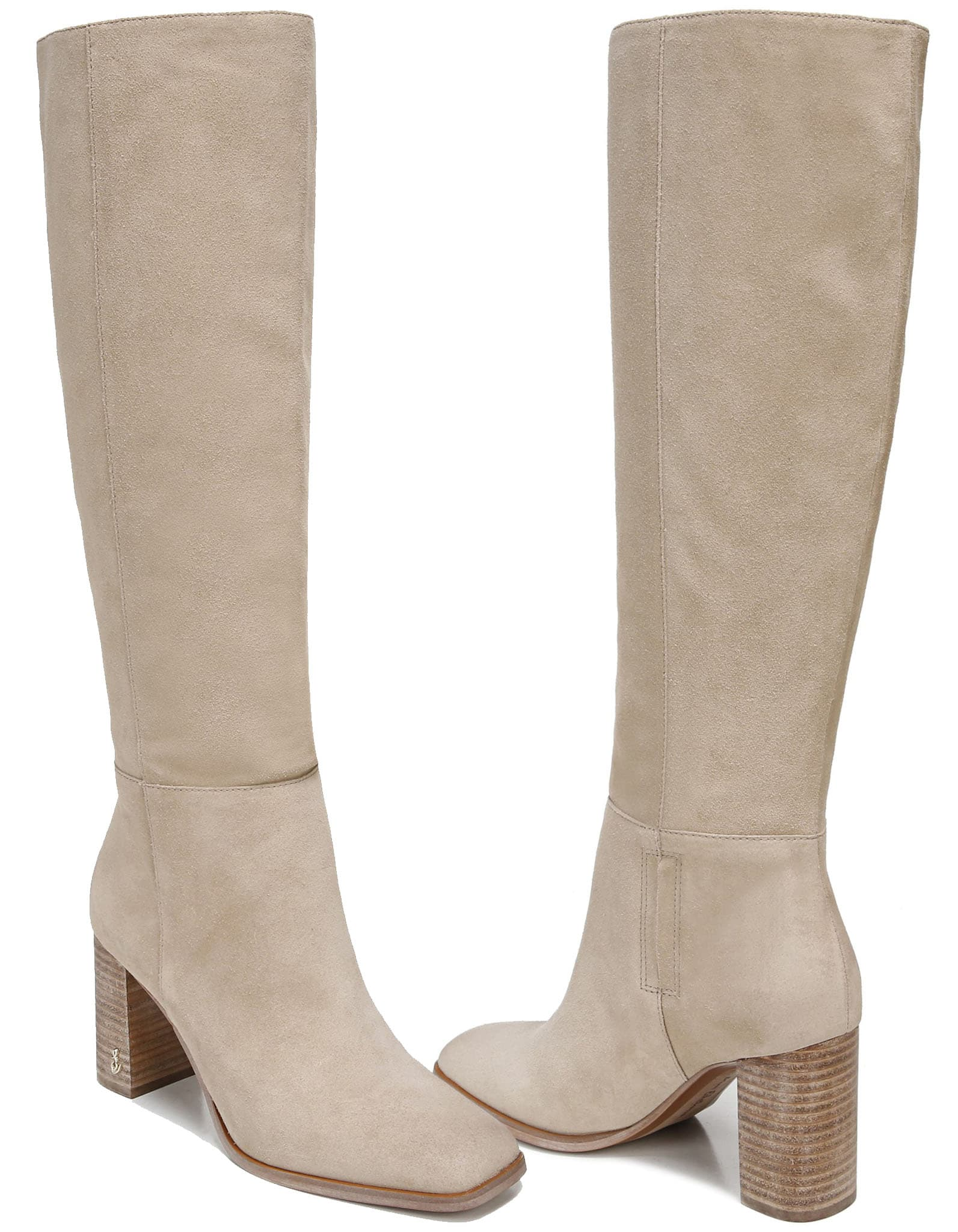 Square toes bring a contemporary look to these supple knee-high boots that feature a streamlined silhouette