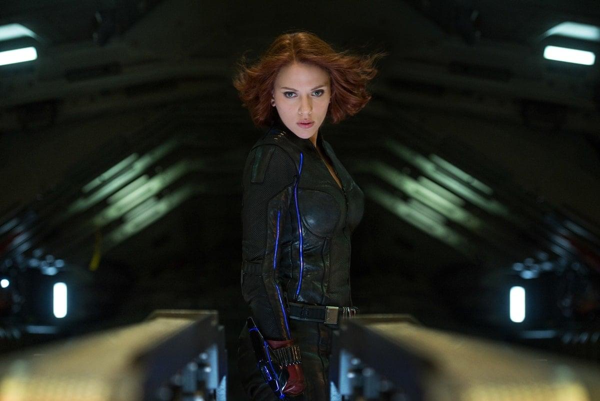 Scarlett Johansson as Natasha Romanoff/Black Widow in the 2015 American superhero film Avengers: Age of Ultron