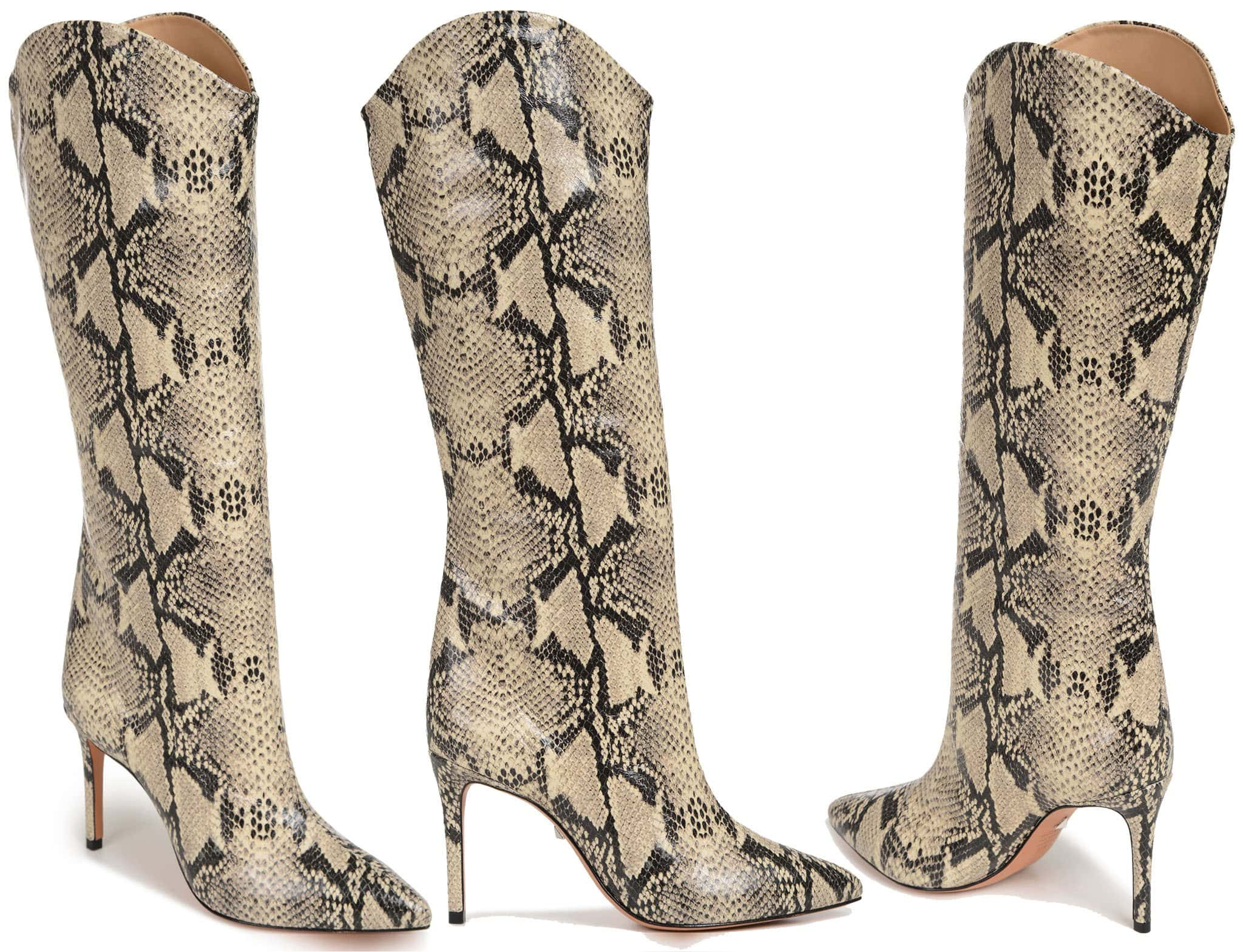 Snakeskin-embossed leather adds Southwestern style to a pointy-toe boot silhouette lifted by a slimmed-down heel