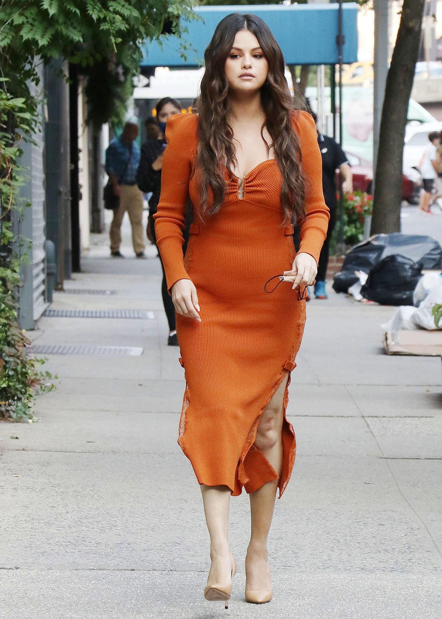 Ice cream entrepreneur Selena Gomez arriving at Serendipity 3 restaurant in New York City