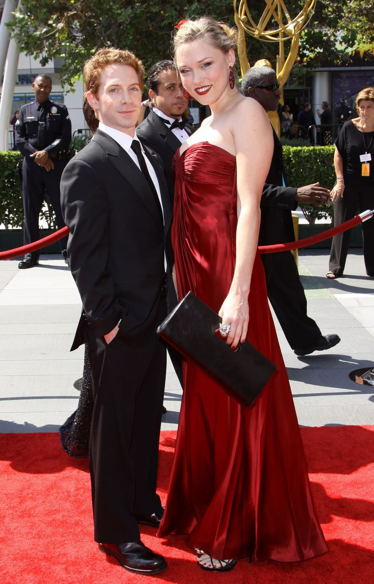 Seth Green and Clare Grant at the 61st Primetime Emmy Awards