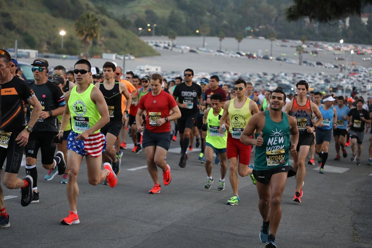 Runners take part in the Skechers Performance Los Angeles Marathon