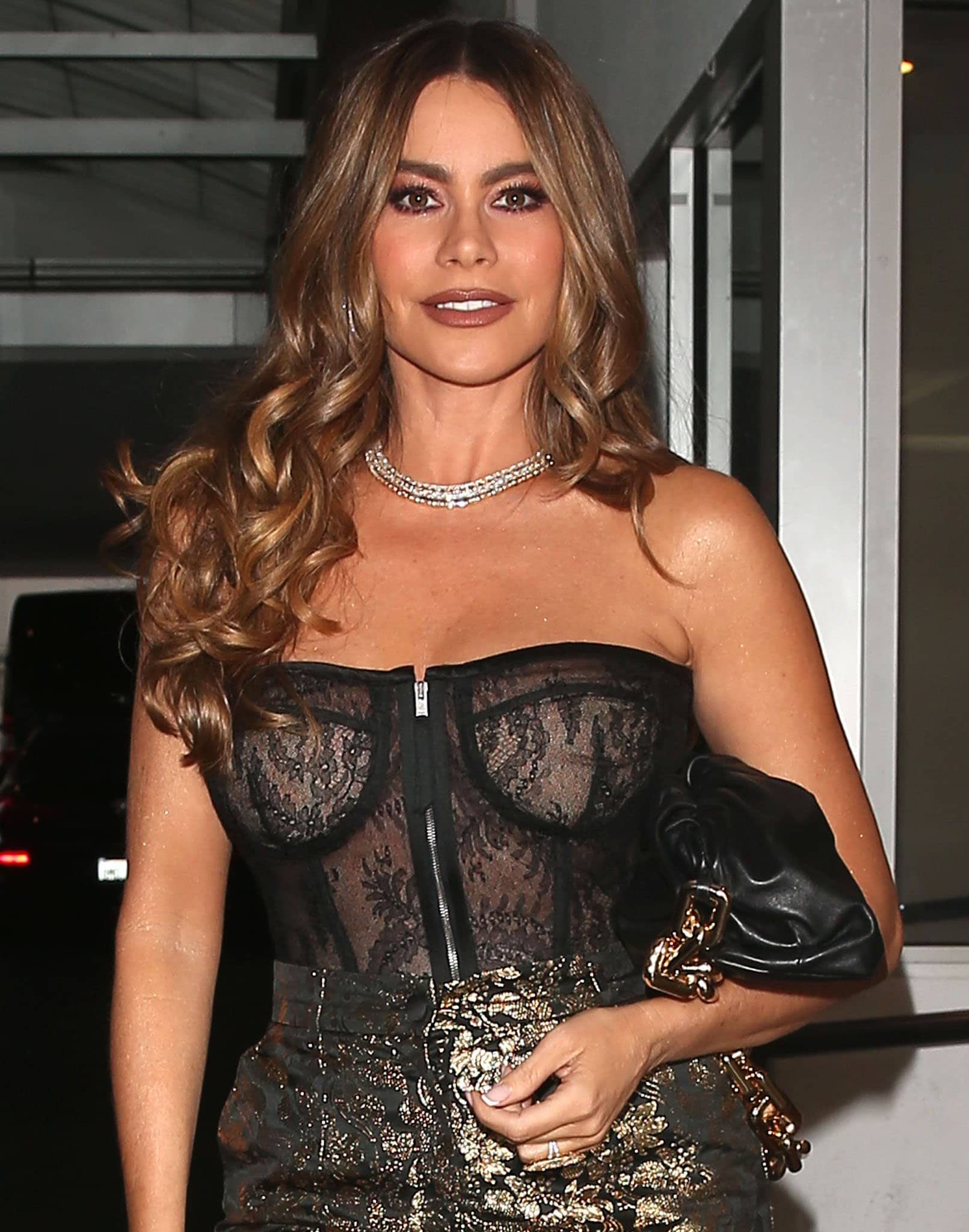 Sofia Vergara styles her hair in glossy soft curls and wears brown lipstick and copper eye-makeup