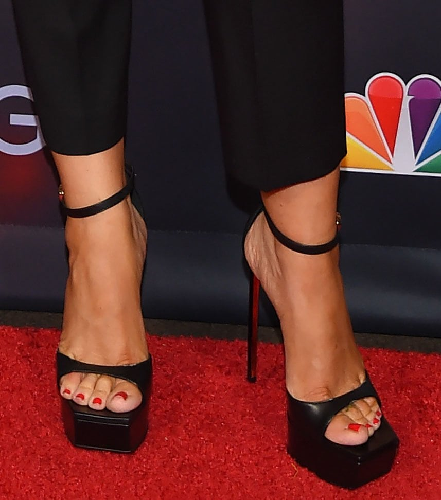 Sofia Vergara adds height to her look with Versace Safety Pin sky-high heels