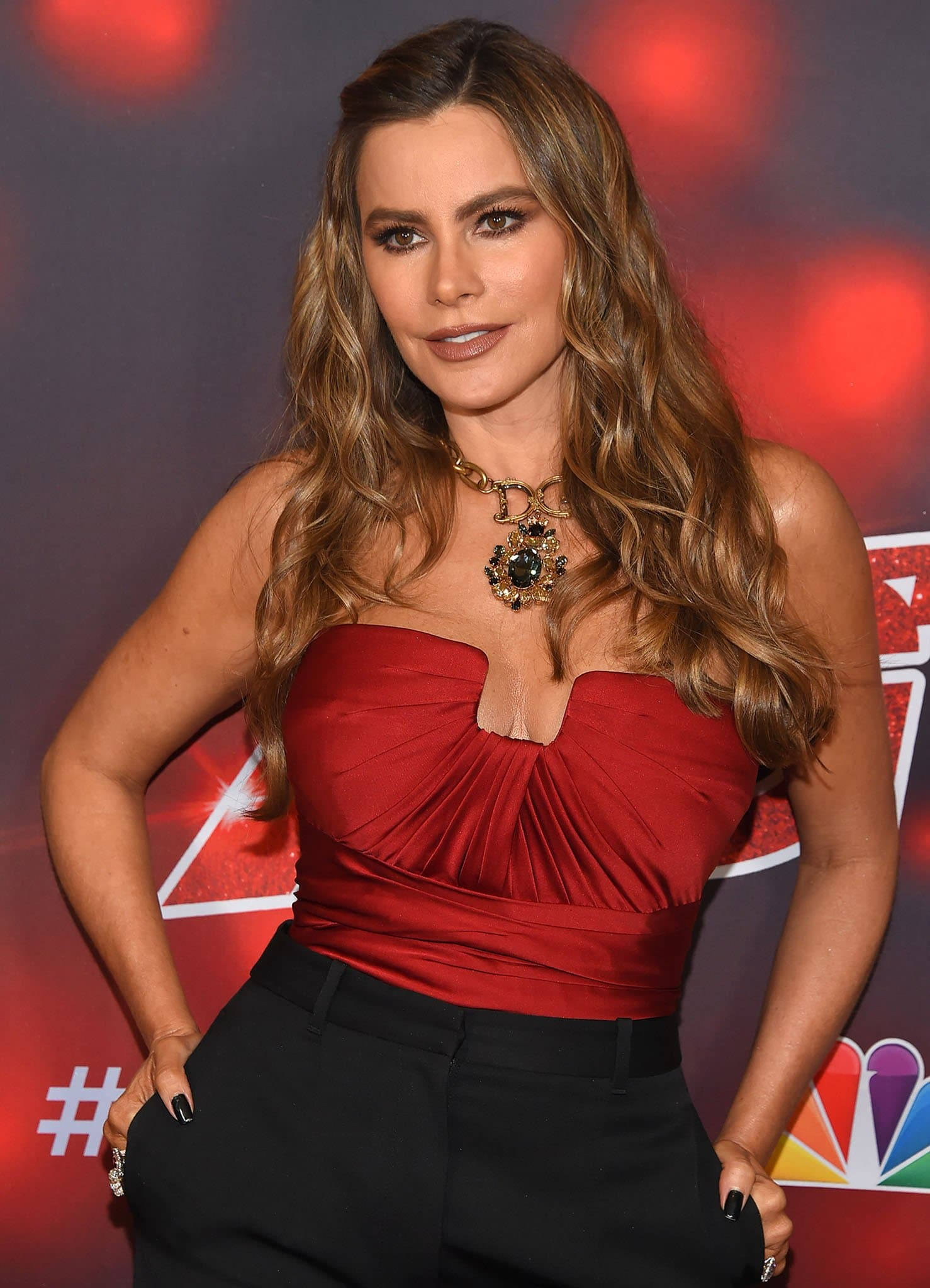 Sofia Vergara styles her hair in loose curls with the front part clipped to the side and wears brown eyeshadow with matching lipstick