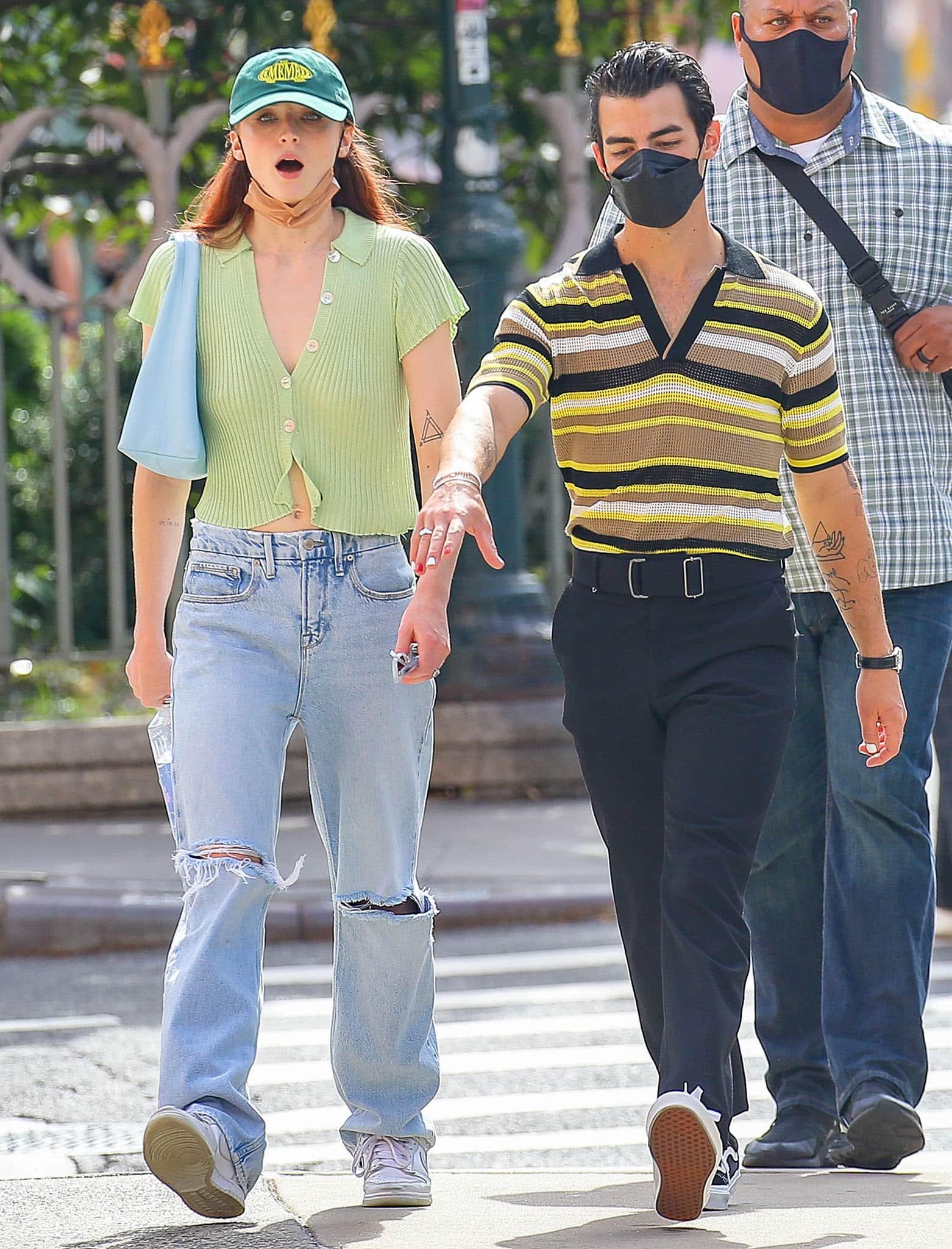 Sophie Turner and Joe Jonas walking around New York City in matching knitwear on September 21, 2021