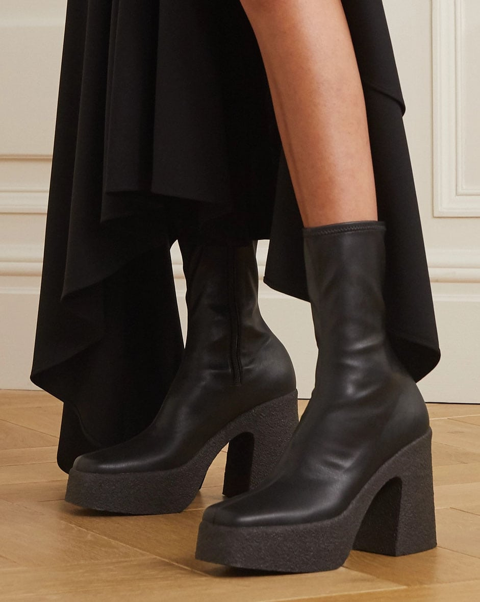 The Skyla boots have a sock-like fit and chunky platforms and heels