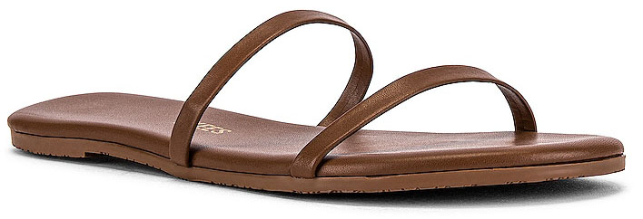 The Tkees Gemma flat sandals feature a classic two-strap design made of matte leather