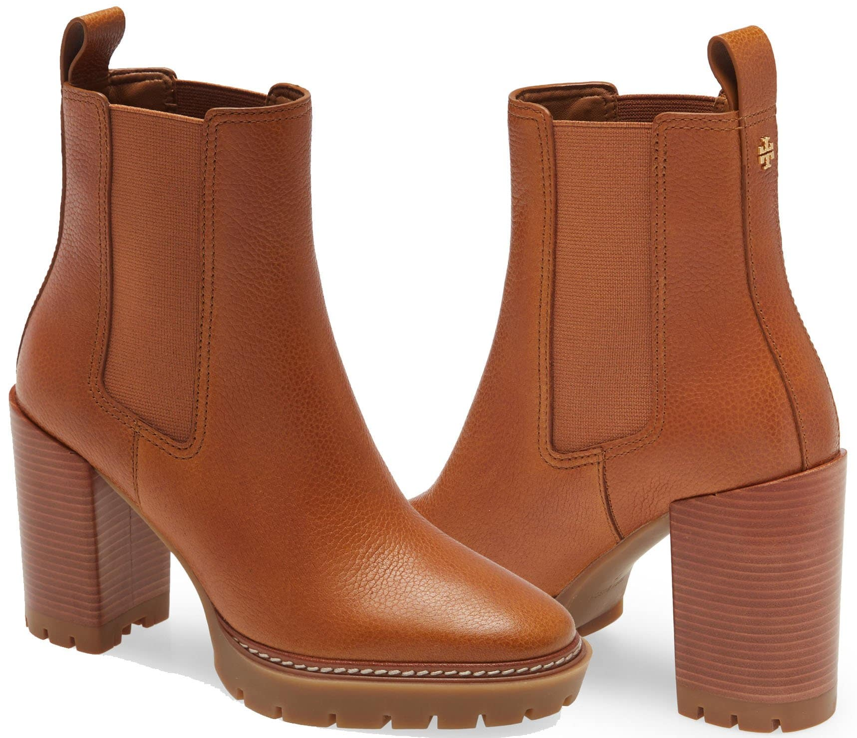 A classic Chelsea-style boot elevated on a block heel and treaded sole