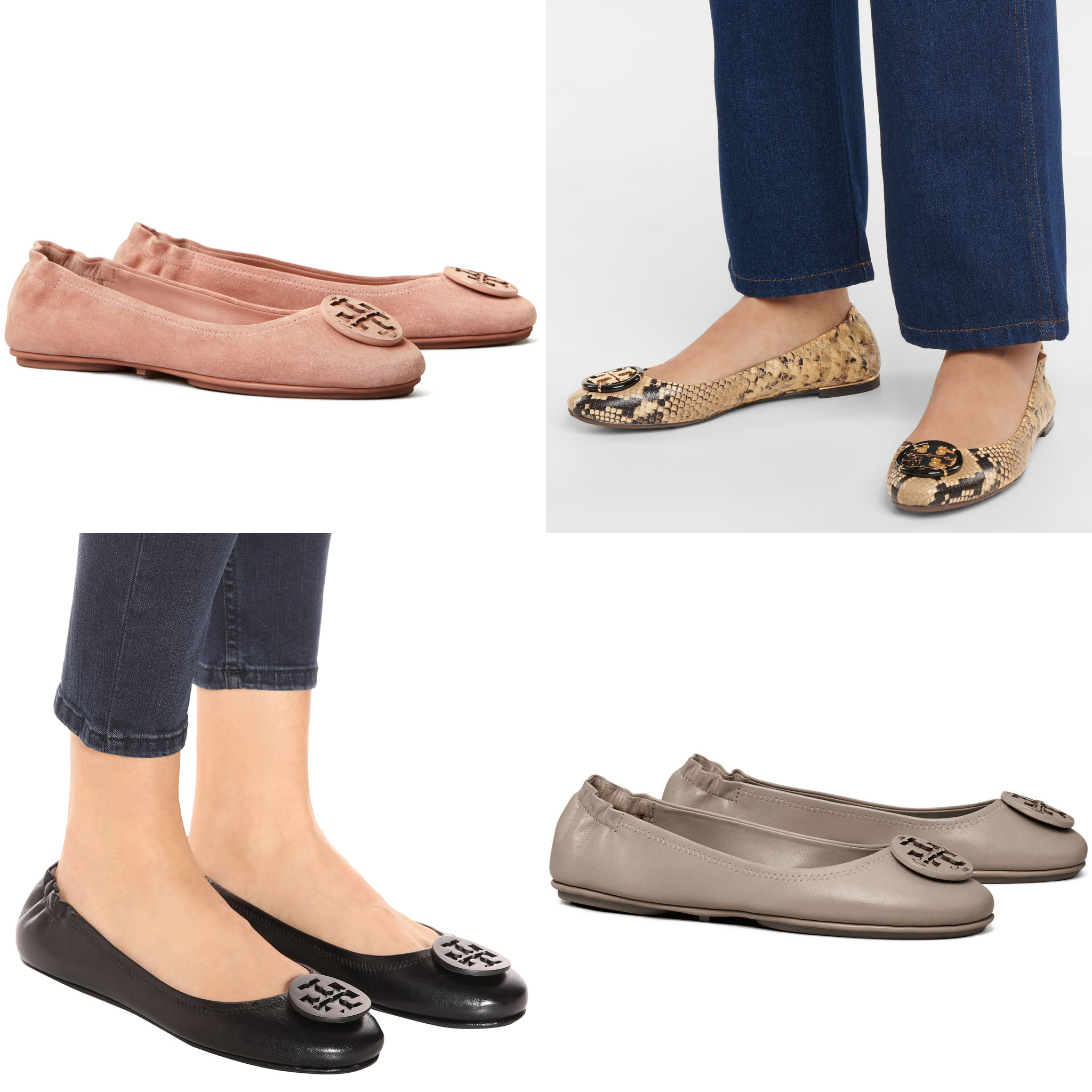 A perfect marriage between laid-back luxe and polished glamour, the Minnie Travel flats are crafted from soft lambskin leather with elasticated back for a perfect fit
