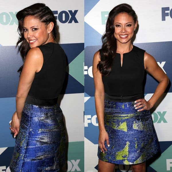 Vanessa Lachey styled a simple black tank with a printed skirt