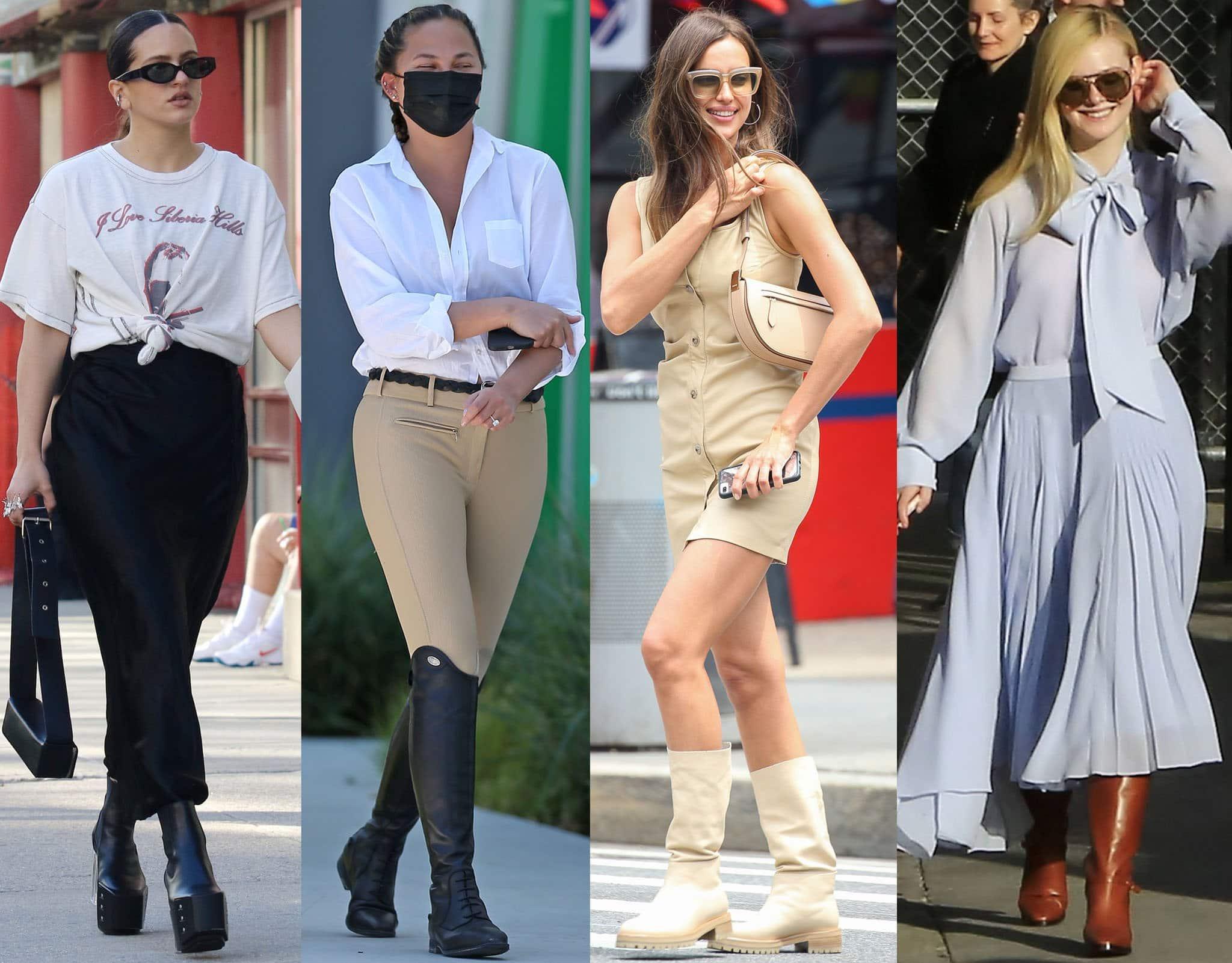 Rosalia, Chrissy Teigen, Irina Shayk, and Elle Fanning in chic fall boots